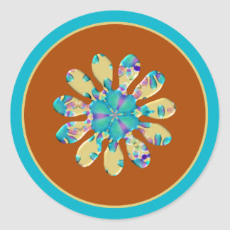Retro Glam Daisy Flower Turquoise Opalescent Glow Stickers