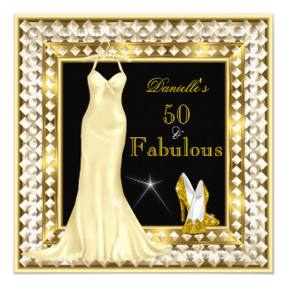 Retro Glamour Hollywood Fabulous 50 Gold Deco 13 Cm X 13 Cm Square Invitation Card