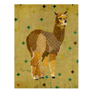 Retro Gold Alpaca Postcard