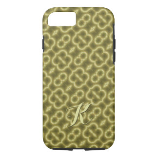 Retro Gold and Green with Initial iPhone 7 Case