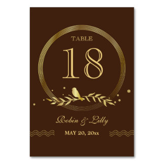 Retro Gold Bird on Leaves Wedding Table Number