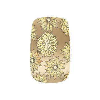 Retro Gold FLowers Minx Nail Art
