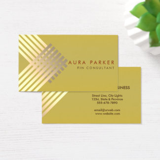Retro Gold Geometrical Finance Construction Business Card