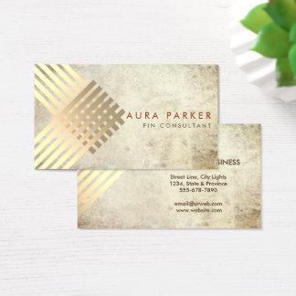 Retro Gold Geometrical Finance Construction Business Card