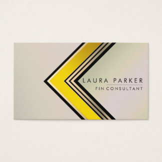 Retro  Gold Geometrical Finance Modern Business Card