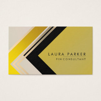 Retro Gold Geometrical Finance Modern Elegant Business Card