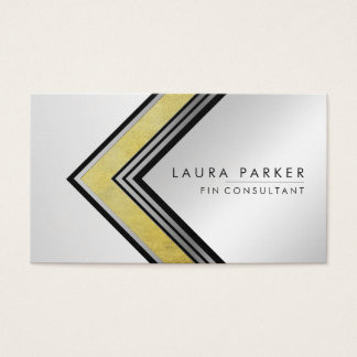Retro Gold Silver Geometrical Finance Modern Business Card