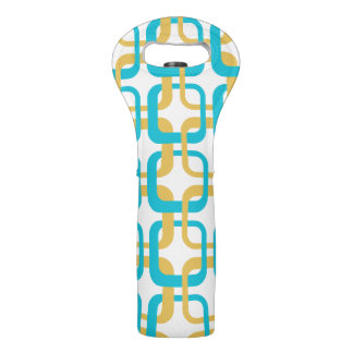 Retro Gold & Turquoise Pattern Wine Bag