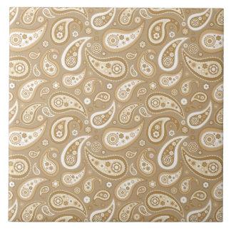 Retro Golden Paisley Pattern Ceramic Tiles