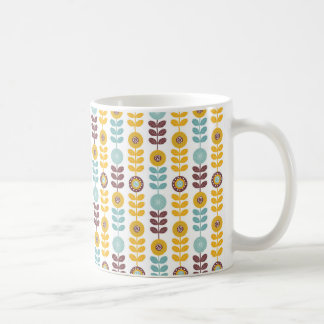 Retro Golden yellow and Teal blue daisies on white Coffee Mug
