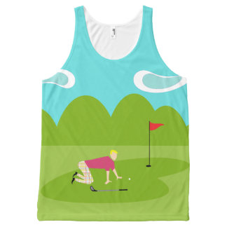 Retro Golfer All-Over Printed Unisex Tank Top All-Over Print Tank Top