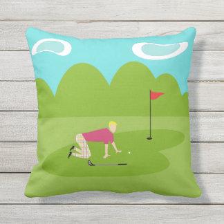 Retro Golfer Outdoor Pillow