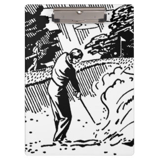 Retro Golfer Sand Trap Clipboard