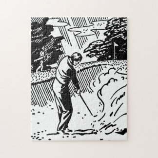 Retro Golfer Sand Trap Jigsaw Puzzle