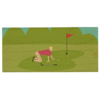 Retro Golfer USB Wooden Flash Drive Wood USB 2.0 Flash Drive
