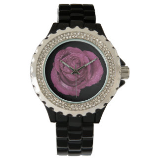 Retro Gorgeous Lavender Purple Rose Photo Watch