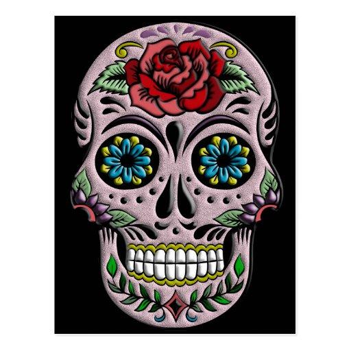 Retro Goth Sugar Skull Post Card