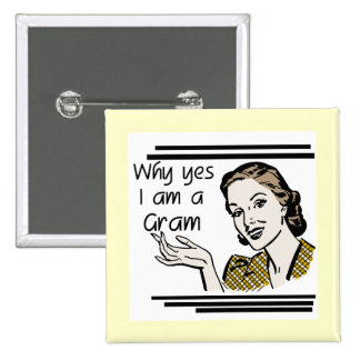 Retro Gram Tshirts and Gifts Pinback Buttons