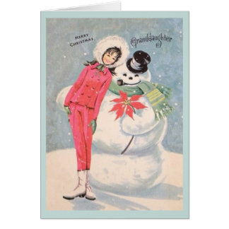 Retro Granddaughter Christmas Card