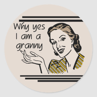 Retro Granny T-shirts and Gifts Round Sticker
