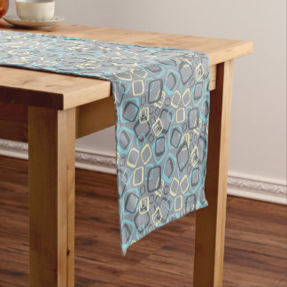 Retro Gray and Yellow Short Table Runner