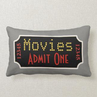 Retro Gray Home Theater Movie Ticket Cinema Pillow