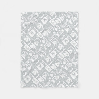 Retro Gray or any color & White Telephone Pattern Fleece Blanket