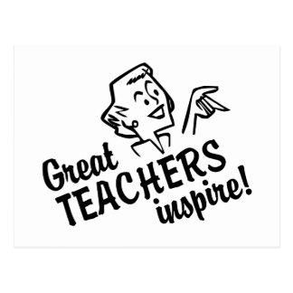 Retro Great Teachers Inspire Postcard