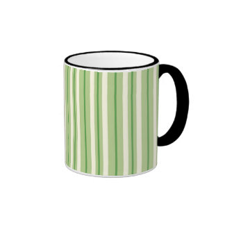 Retro Green and Cream Awning Stripes Ringer Mug