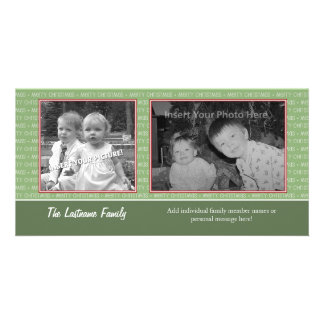 Retro Green and Red with 2 photos - horizontal Photo Card Template
