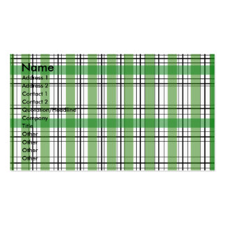 Retro green and white plaid business card