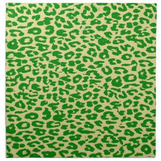 Retro green animal print skin texture of leopard napkin