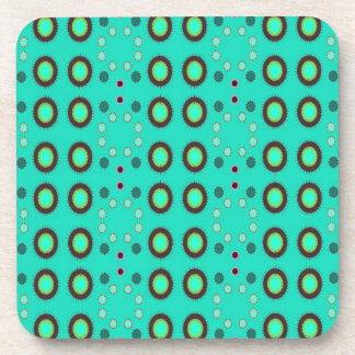 retro green circle pattern drink coasters