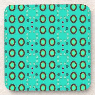 retro green circle pattern beverage coaster