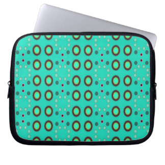 retro green circle pattern computer sleeve