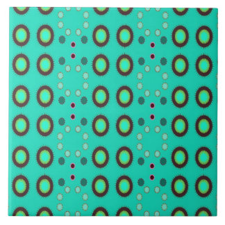 retro green circle pattern large square tile