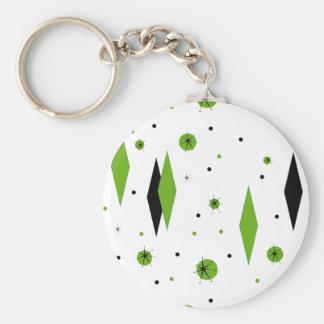 Retro Green Diamonds and Starbursts Keychain