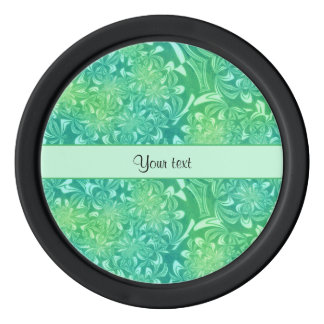Retro Green Floral Poker Chips