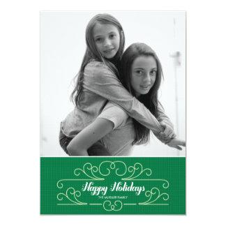 "Retro Green Florish Holiday Photo Card 5"" X 7"" Invitation Card"
