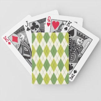 Retro Green Geometric Argyle Pattern Bicycle Playing Cards