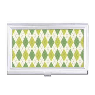Retro Green Geometric Argyle Pattern Business Card Holder