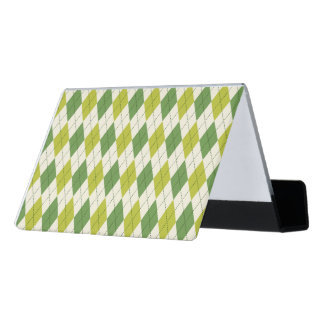 Retro Green Geometric Argyle Pattern Desk Business Card Holder