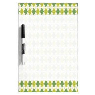 Retro Green Geometric Argyle Pattern Dry Erase Board