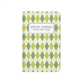 Retro Green Geometric Argyle Pattern Journal