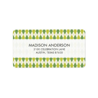 Retro Green Geometric Argyle Pattern Label