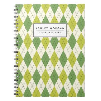 Retro Green Geometric Argyle Pattern Notebook