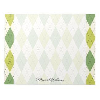 Retro Green Geometric Argyle Pattern Notepad