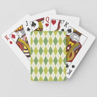 Retro Green Geometric Argyle Pattern Playing Cards