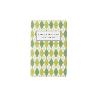 Retro Green Geometric Argyle Pattern Pocket Moleskine Notebook