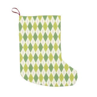 Retro Green Geometric Argyle Pattern Small Christmas Stocking
